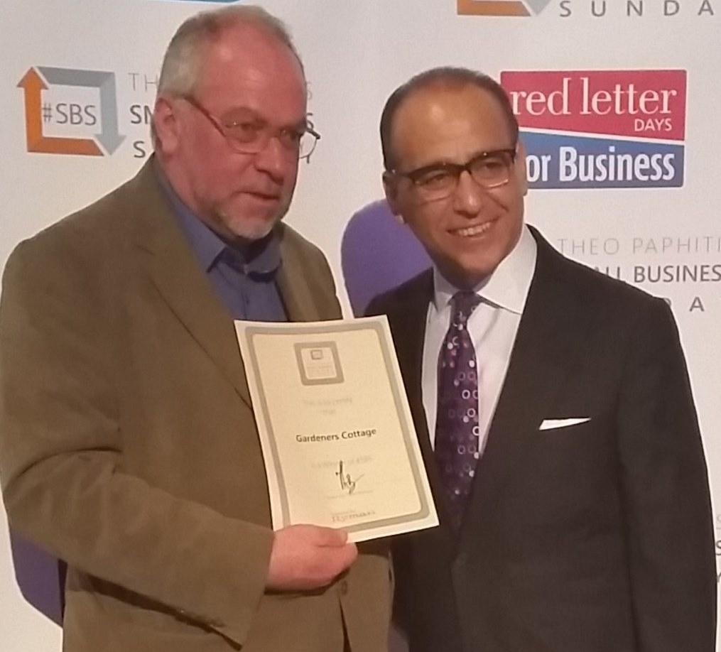 Theo Paphitis awards Gardeners Cottage with #SBS