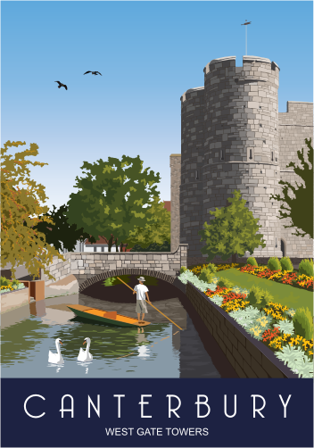 Canterbury - West Gate Towers (Kent) Greetings Card