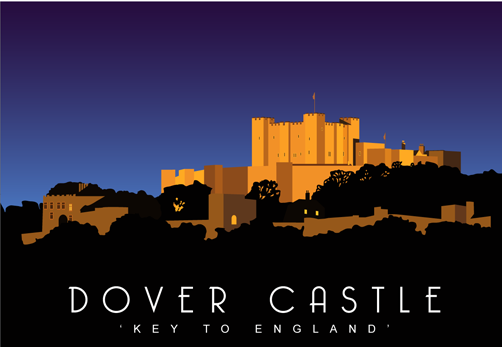 Dover Castle at night Greetings Card