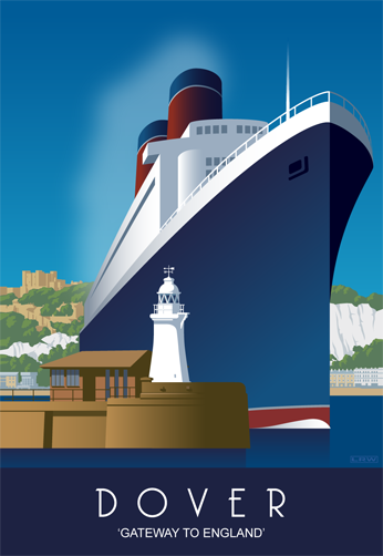 Dover Harbour - cruise ship. Blank A5 greetings card