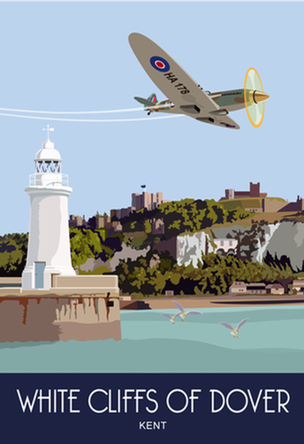 Greetings Card A5 Spitfire over Dover