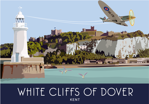 Spitfire flows over Dover a5 greeting card