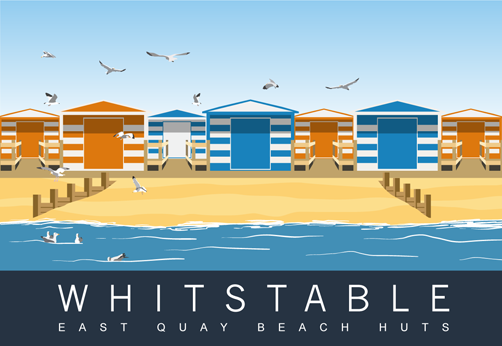 Whitstable - beach huts on the East Quay. Thanet, Kent