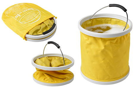 Yellow Bucket in a bag - folds down flat for easy storage
